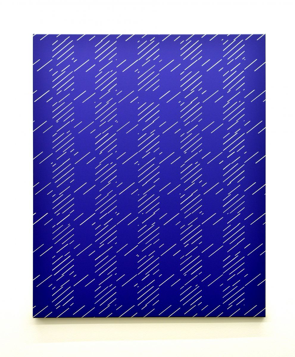 eder-works-bilder-white lines on blue-painting-bild-2017